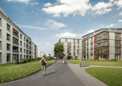 Ankündigung Vermarktungsstart der Wohnüberbauung «Gloggeguet» in 8207 Schaffhausen (Herblingen). Verkauf von 71 Wohnungen mit 2.5 - 5.5 Zimmern.