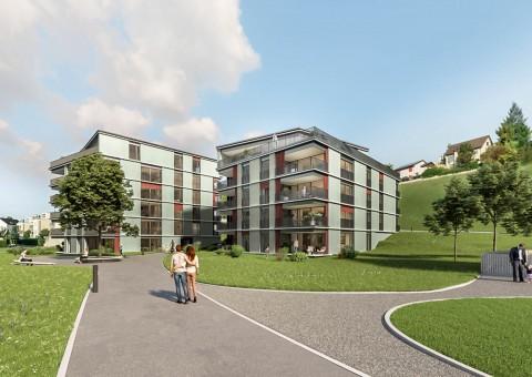 Erfolgreicher Spatenstich für das Neubauprojekt «Gloggeguet» in 8207 Schaffhausen-Herblingen. Bereits im November 2018 soll mit dem Bau begonnen werden.