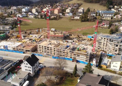 """Aktueller Baufortschritt beim Neubauprojekt """"Gloggeguet"""" in 8207 Schaffhausen-Herblingen"""