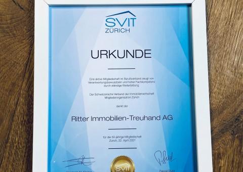 Urkunde 50-jährige SVIT Mitgliedschaft - www.svit.ch